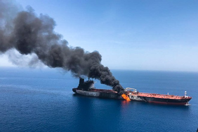 An aerial picture showing the huge blaze raging on the oil tanker after the attack in the Gulf of Oman