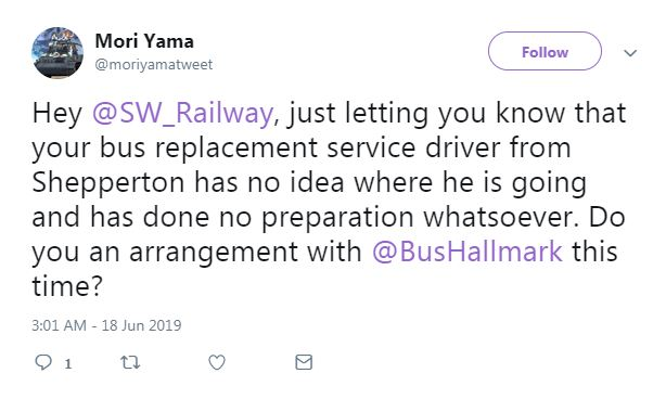 This commuter complained of the rail replacement service