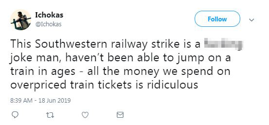 This commuter blasted SWR after not being able to get on a train