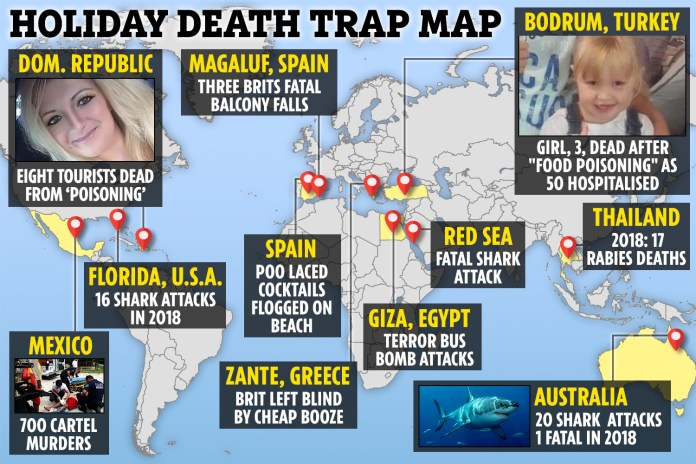 Holiday deathtrap map reveals the shark, terror and health