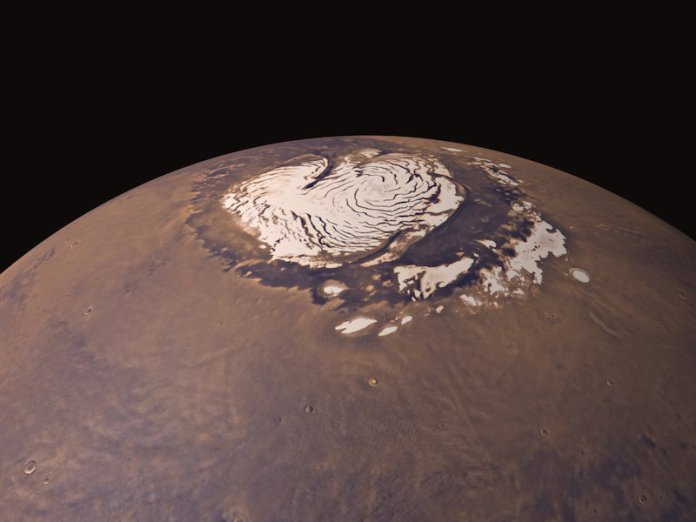 Satellite snap of Mars's icy north pole