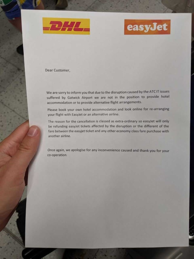 Ryan was handed a letter after his flight was cancelled