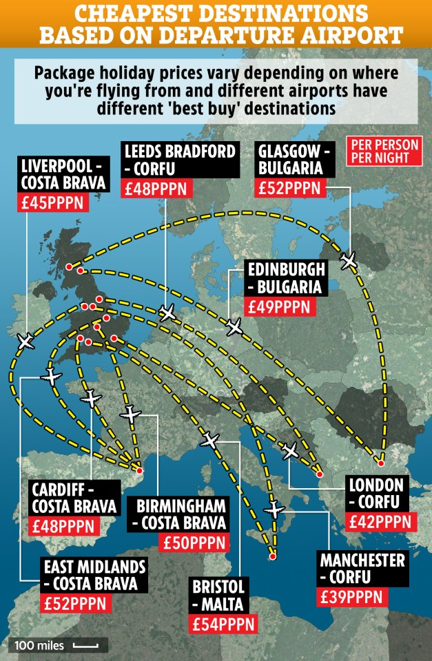 Map Of Uk Holiday Destinations.Cheapest Summer Package Holidays Based On Where You Re Flying From