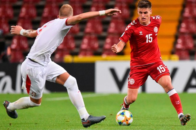 Denmark Under-21s' right-back Joakim Maehle could be set to switch the Belgian top-flight for the Premier League