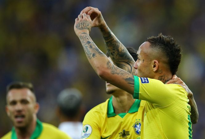 Everton Soares could soonn be celebrating more than a goal for Brazil - as Arsenal seem to be closing in on signing him