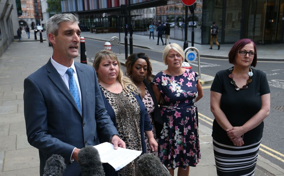 British Transport Police Detective Chief Inspector Sam Blackburn, stands with (L-R) Svetlana Pomeroy, her friend Esmanda Monen, and Mr Pomeroy's sisters, Kim Pomeroy and Karen Blackaby as he issues a statement outside the Old Bailey in London, after Darren Pencille was found guilty of murdering Mr Pomeroy