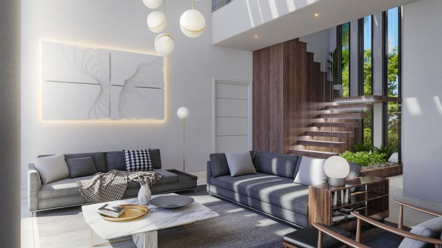 High ceilings and floating staircases give a sense of spaciousness