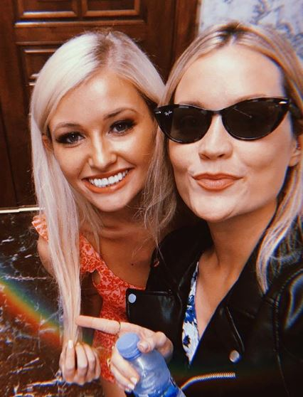 Amy Hart has been seen for the first time since leaving the villa - she was pictured with Laura Whitmore
