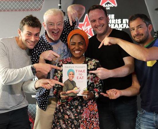 Nadiya appeared on Chris Evans' Virgin Radio Breakfast Show this morning
