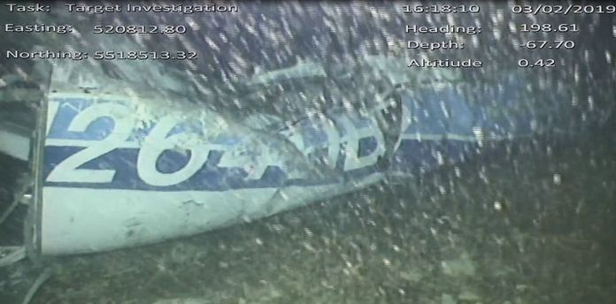 Part of the Piper Malibu aircraft was found on the seabed under the English Channel