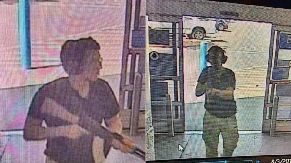 This CCTV image obtained by KTSM 9 news channel shows the gunman identified as Patrick Crusius, 21 years old, as he enters Walmart