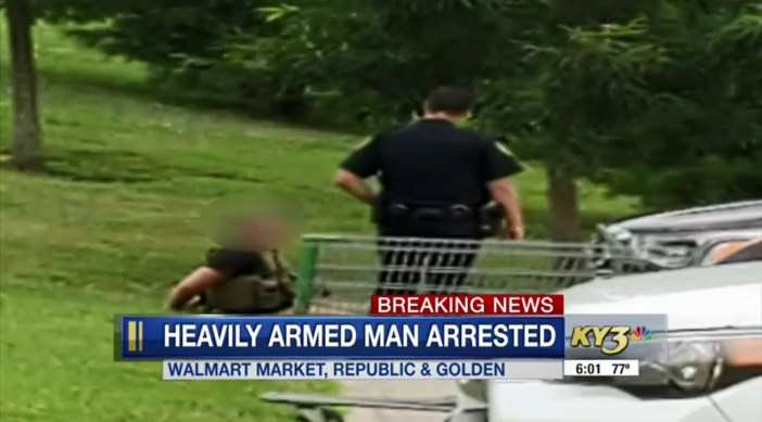 Cops say the man walked into the Walmart in Springfield, Missouri, and grabbed a cart before pushing it around the store