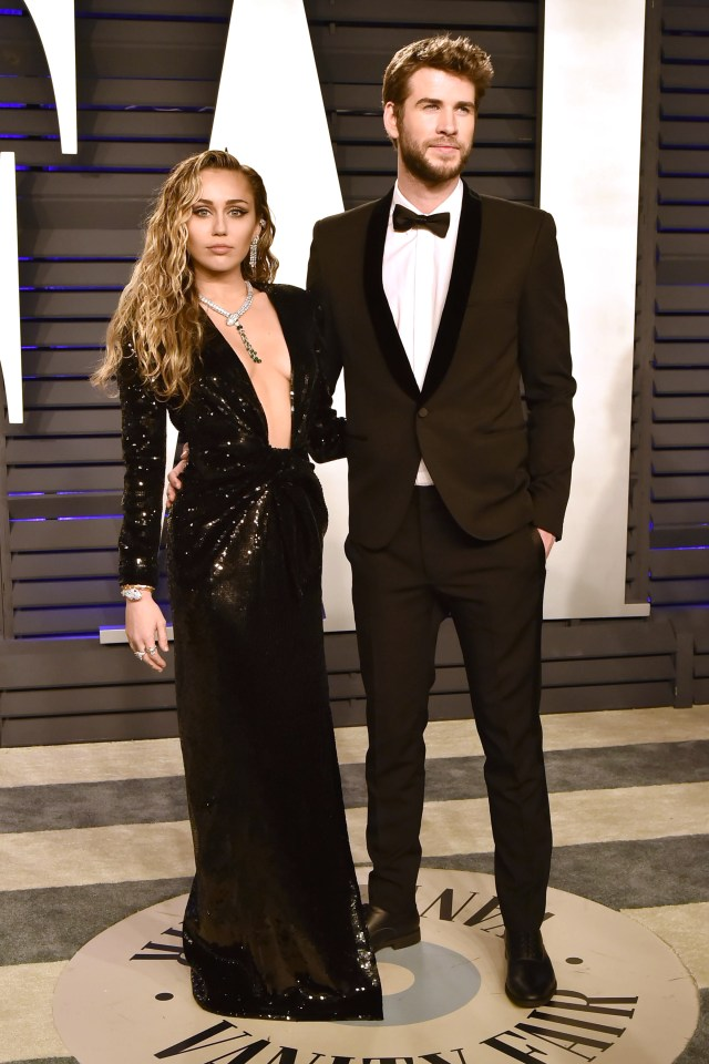 Miley Cyrus and Liam Hemsworth at the Vanity Fair Oscar Party 2019