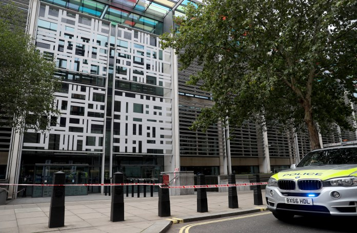 Police confirmed they were called to the Home Office just after 1pm