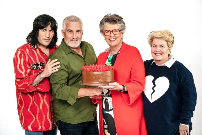 The Great British Bake Off presenters Noel Fielding and Sandi Toksvig with Paul Hollywood and Prue Leith