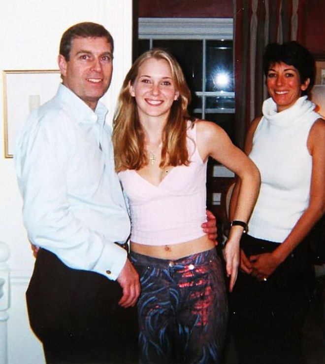 Prince Andrew and Virginia Roberts, aged 17, at Ghislaine Maxwell's townhouse in London in 2001