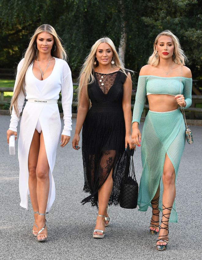 Frankie, centre, was spotted filming with her famous sisters Chloe, left, and Demi, right