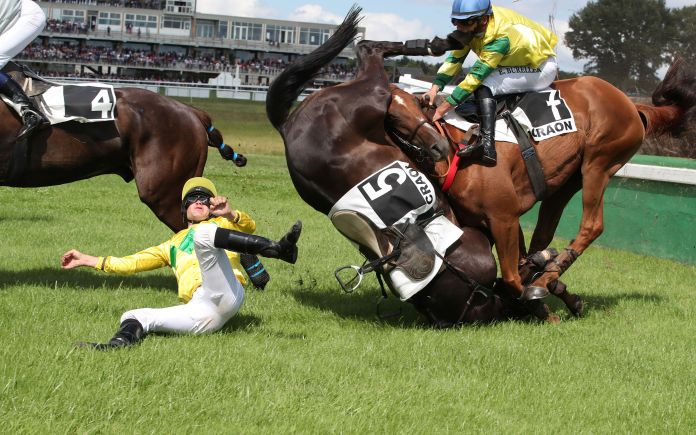 Jockey Erwan Bureller is struck in the face by the hoof of Diamond Dark after the rival horse fell in front of him at a race in Craon, France
