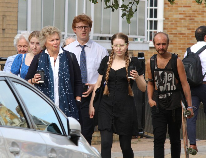 Ben's family, including sister Jessie Cave, arriving to court today