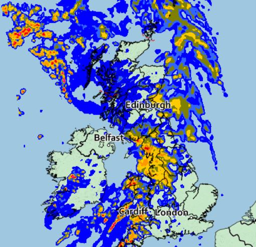 The Met Office warned it would be'wet and windy' for most on Friday