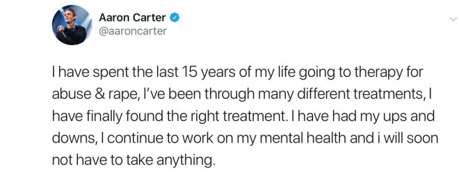 Aaron revealed he had been in therapy for the past 15 years