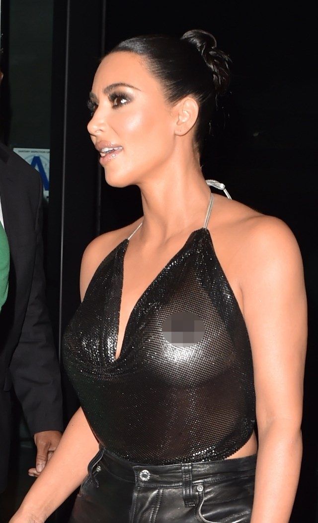 But Kim didn't seem to realise her sparkly top was see through