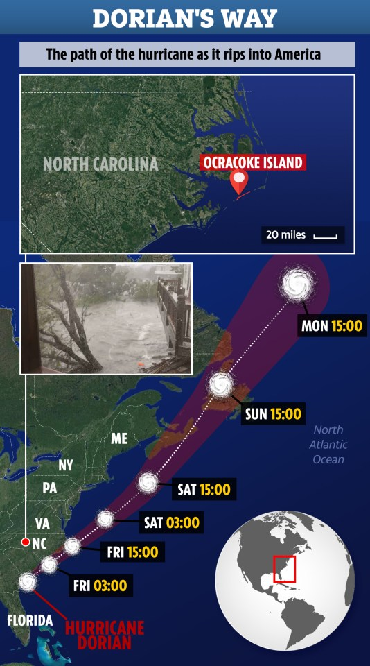 Dorian's path over this weekend and into Monday as its trail of destruction continues