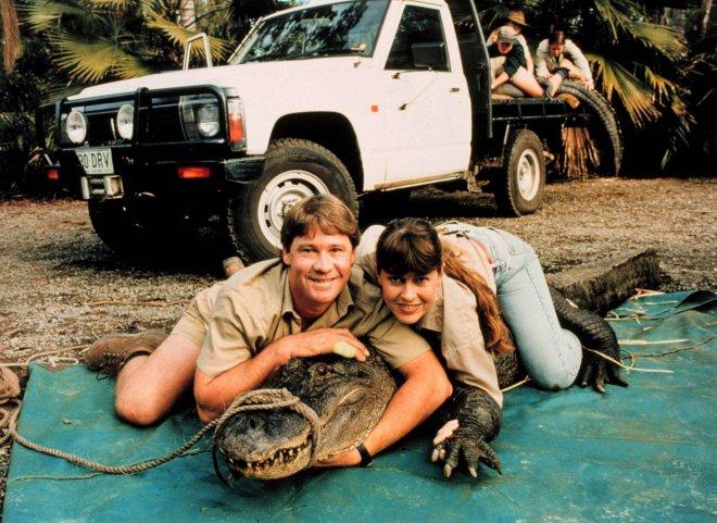 Steve and wife Terri wrestle a giant croc in 2000