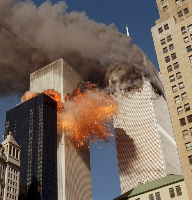 Smoke billows from one of the towers of the World Trade Center on September 11, 2001