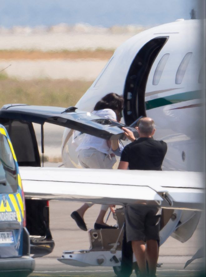 Meghan Markle was seen getting onto a luxury private jet after a family holiday in the south of France