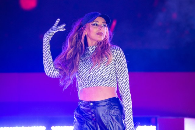 Jade Thirlwall stunned in dark trousers and a monochrome top