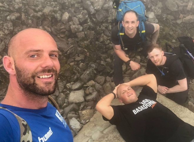 The 28-year-old climbed Ben Nevis along with Mike and his team