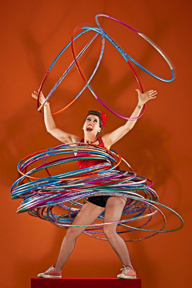 Dunja Kuhn made it into the Guiness Book of World Records by spinning 59 hula hoops at once