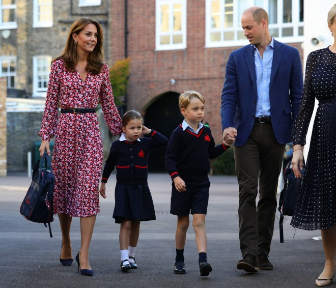The Cambridge family left Prince Louis at home for the first drop off