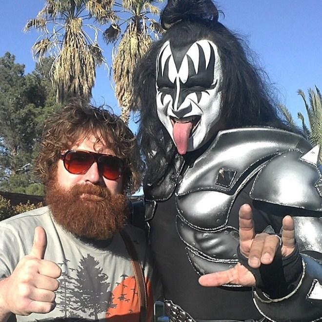 Thaddeus Kalinosk with Kiss rock star Gene Simmons