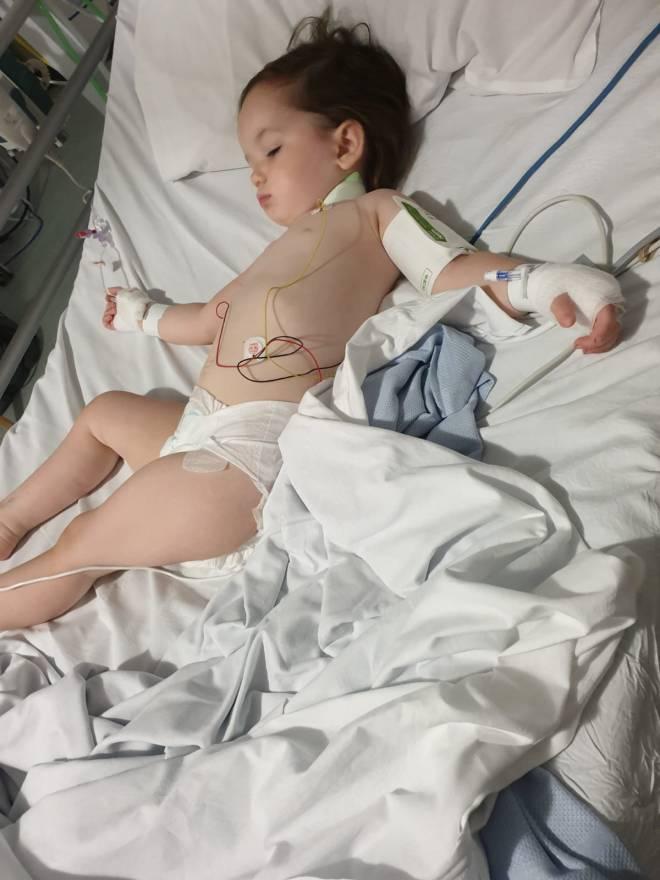 Little Elsie-Rose in Sheffield Children's Hospital after her life-saving operation