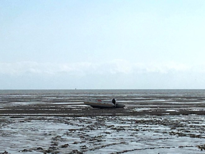 A boat that had landed on a beach, Greatstone, Kent