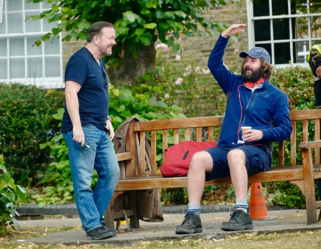 Ricky Gervais and Joe Wilkinson seen filming 'After life season 2' on Tuesday