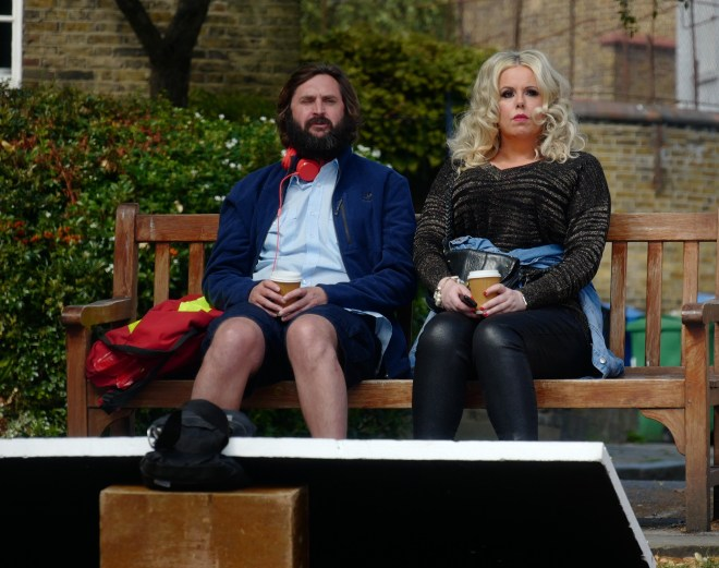 Joe with co-star Roisin Conaty on a North London bench