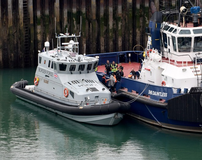 A Border Force tied up in Dover today after the agency's busiest day