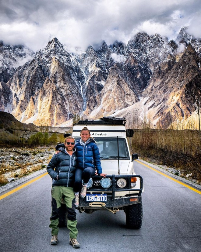 The globe-trotting pair travelled across Asia, including the Hunza Valley in Pakistan