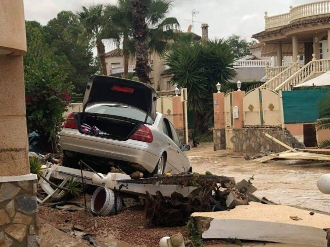 Flood waters tore through the holiday town of Benferri, near Orihuela
