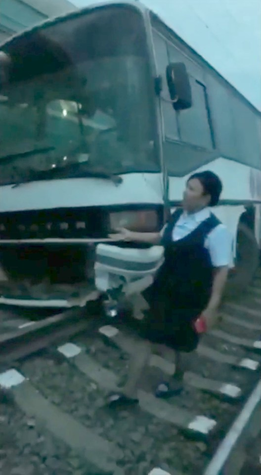 The coach was stuck in a traffic jam when it was hit on the crossing