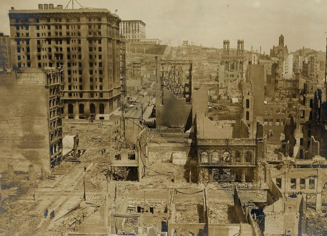The San Francisco earthquake of 1906 eventually destroyed more than 80 per cent of the Californian city