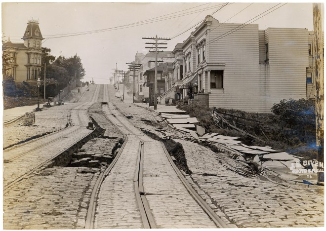 The city's famous tram tracks were torn apart by the monster quake