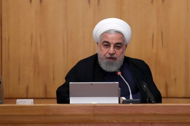 Iran's president Hassan Rouhani speaks in a cabinet meeting in Tehran, as he is accused of being behind the attacks