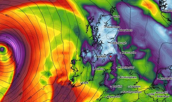This WX Charts map shows how wind will from Hurricane Humberto will be heading towards the UK