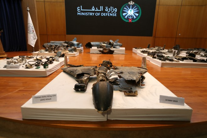 An alleged Iranian drone which has been reconstructed