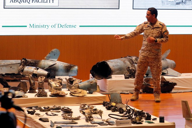 The Saudis displayed missile and drone wreckage which they said shows the attack was 'unquestionably sponsored by Iran'