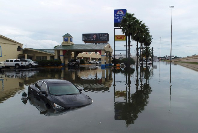 Flooded cars along Interstate 10 in Southeast Texas
